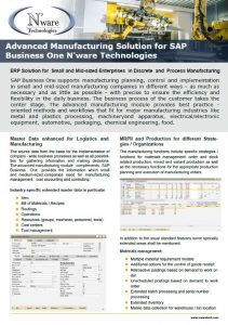 ERP for Advanced Manufacturing SAP Business One